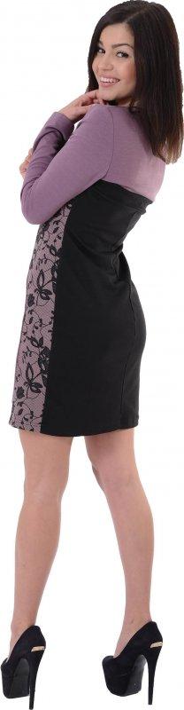 Купить Неординарное повседневное платье сиреневого цвета с длинным рукавом