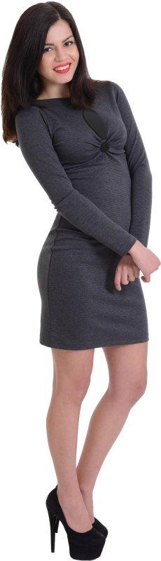 Купить Стильное офисное платье серого цвета с длинным рукавом