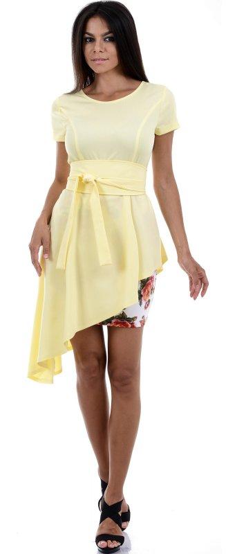 Купить Яркое вечернее асимметричное платье желтого цвета с коротким рукавом