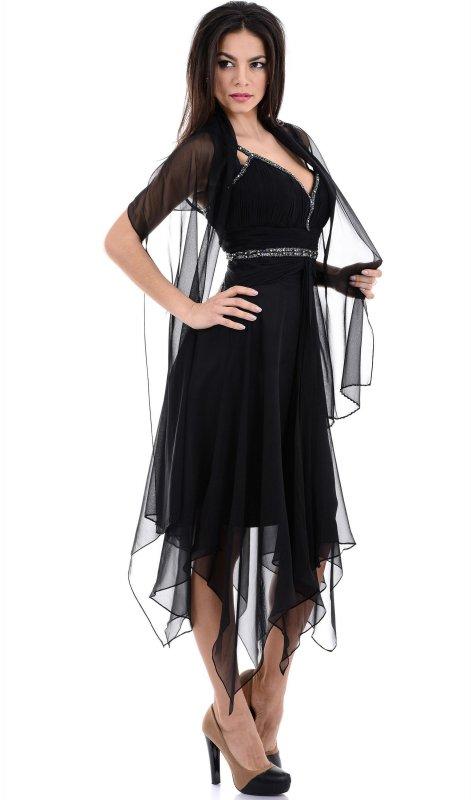 Купить Необычное вечернее платье черного цвета на бретельках