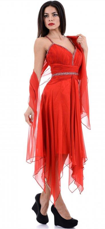 Купить Яркое вечернее платье красного цвета на бретельках