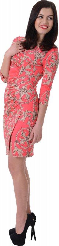 Купить Нарядное офисное платье кораллового цвета с узором