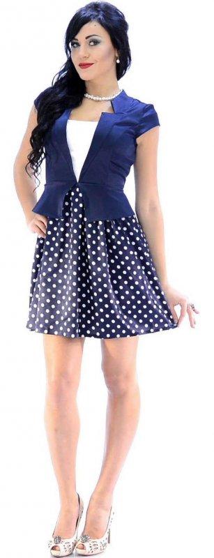 Купить Кокетливое легкое платье синего цвета в горошек