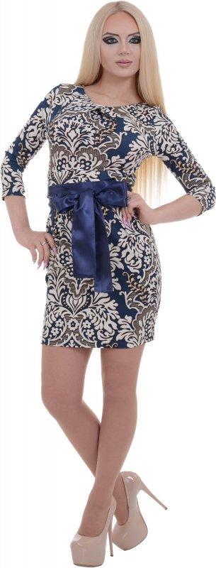 Купить Красивое коктейльное платье с узором и поясом
