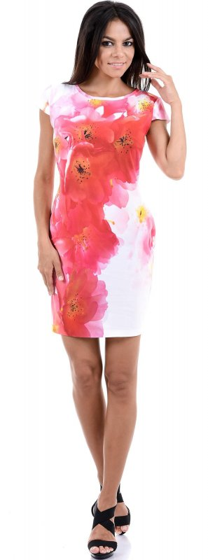 Купить Стильное легкое платье белого цвета с коротким рукавом