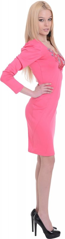 Купить Нежное повседневное платье розового цвета с длинным рукавом