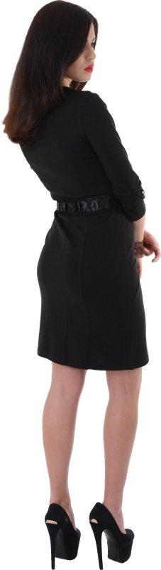 Купить Элегантное офисное платье черного цвета с длинным рукавом