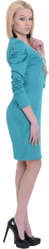 Купить Оригинальное повседневное платье голубого цвета с длинным рукавом