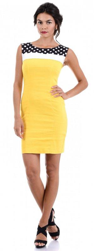 Купить Стильное коктейльное платье желтого цвета без рукавов