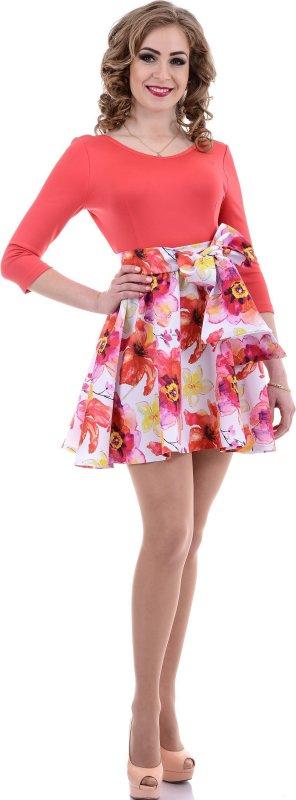 Купить Милое легкое платье кораллового цвета с цветами