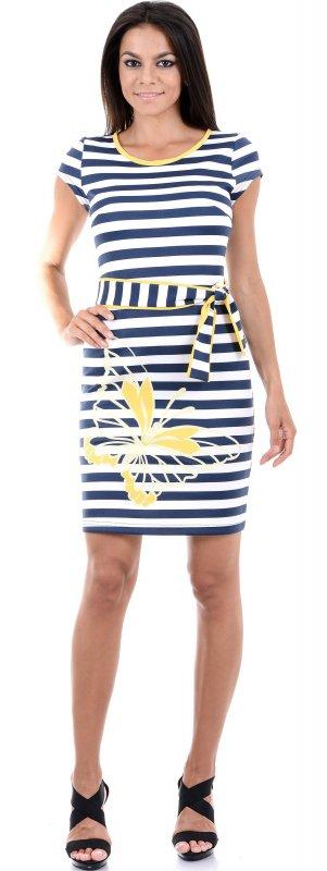 Купить Стильное повседневное платье в полоску с коротким рукавом