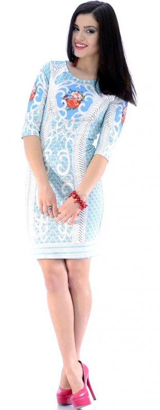 Купить Оригинальное коктейльное платье голубого цвета с узором
