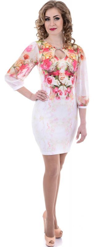 Купить Нежное коктейльное платье белого цвета с длинным рукавом