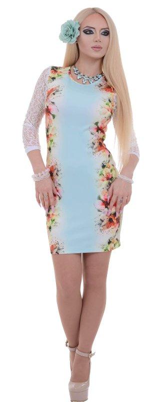 Купить Оригинальное коктейльное платье с цветами и длинным рукавом
