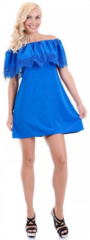 Купить Модное легкое платье синего цвета с открытыми плечами