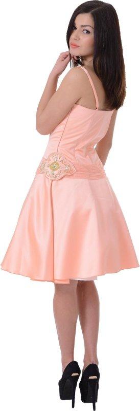 Купить Кокетливое вечернее платье персикового цвета на бретельках