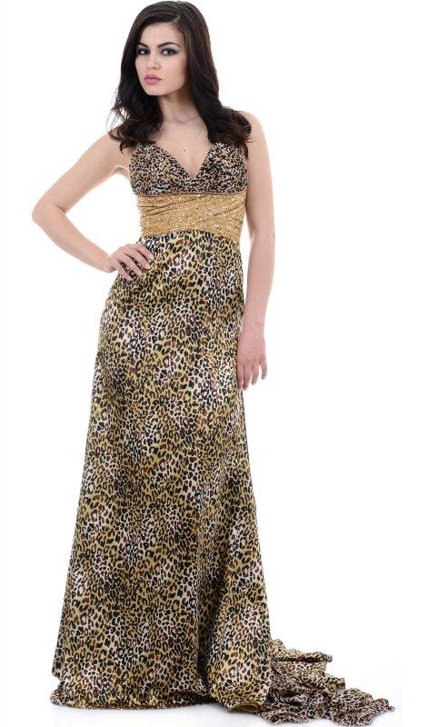 Купить Роскошное вечернее платье с принтом без рукавов