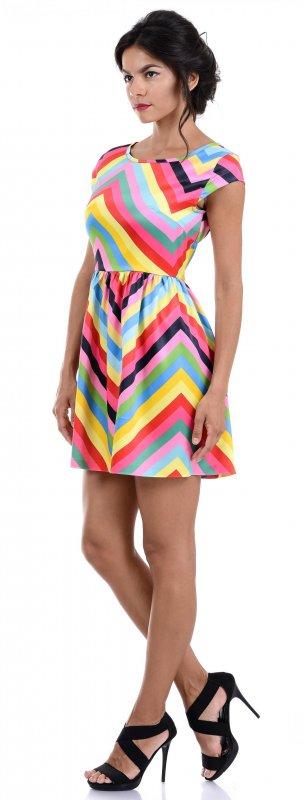 Купить Эффектное коктейльное платье в полоску с коротким рукавом