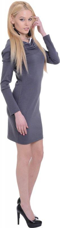 Купить Оригинальное офисное платье серого цвета с длинным рукавом