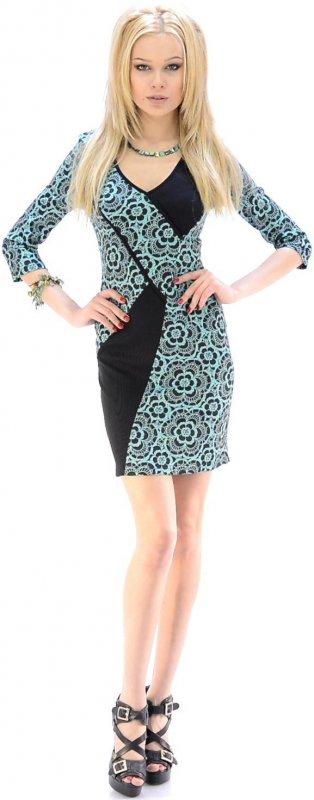Купить Оригинальное офисное платье зелено-черного цвета с длинными рукавами