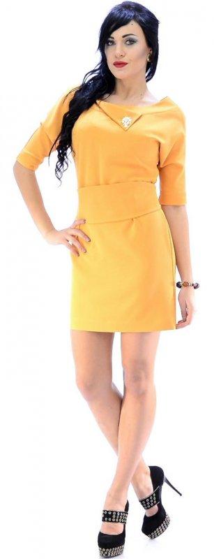Купить Модное офисное платье желтого цвета с поясом