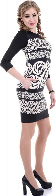 Купить Необычное повседневное платье черного цвета с узором