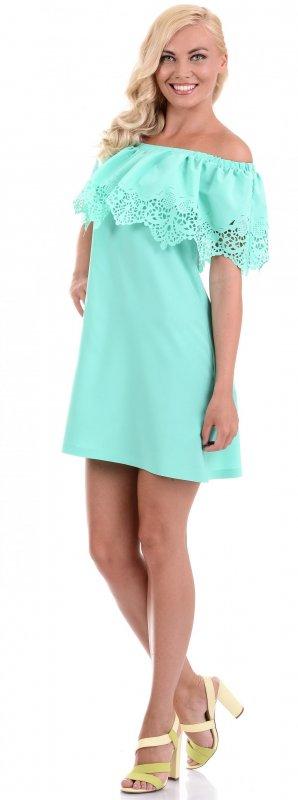 Купить Кокетливое легкое платье ментолового цвета с открытыми плечами