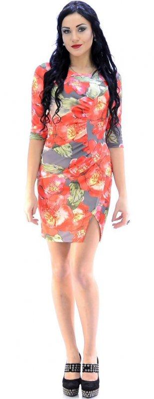 Купить Милое офисное платье с цветами и длинным рукавом