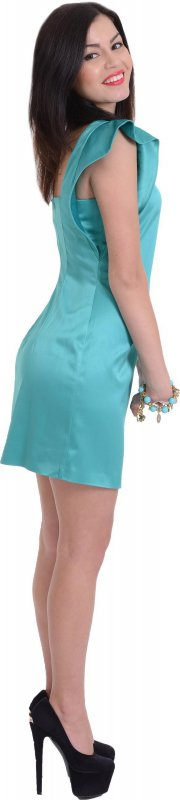 Купить Атласное коктейльное платье голубого цвета без рукавов