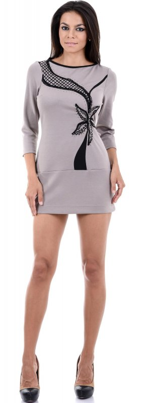 Купить Стильное платье-туника бежевого цвета с узором