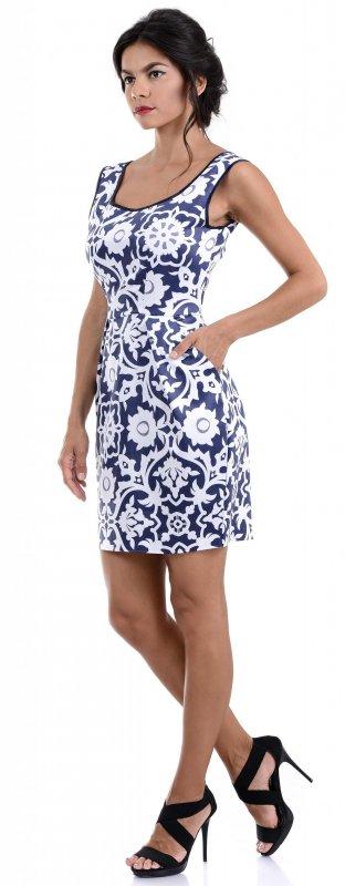 Купить Стильное коктейльное платье синего цвета с узором