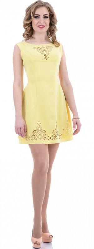 Купить Трендовое легкое платье желтого цвета без рукавов