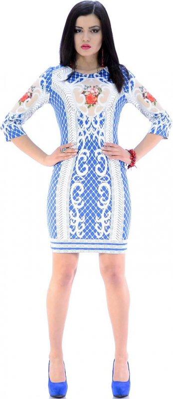 Купить Необычное коктейльное платье синего цвета с цветами