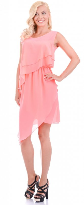 Купить Оригинальное легкое платье розового цвета без рукавов