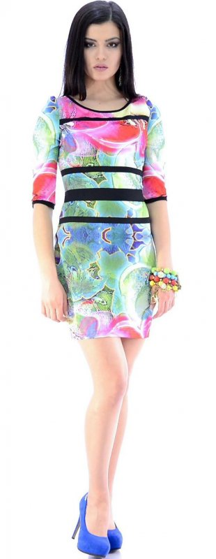 Купить Яркое коктейльное платье с цветами