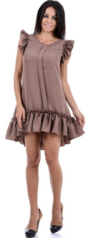 Купить Оригинальное платье коричневого цвета без рукавов