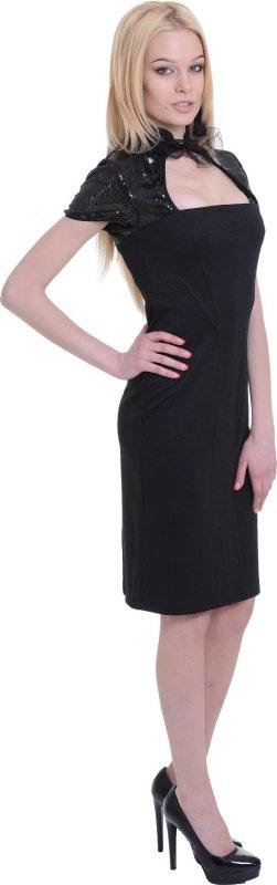 Купить Модное вечернее платье черного цвета с коротким рукавом