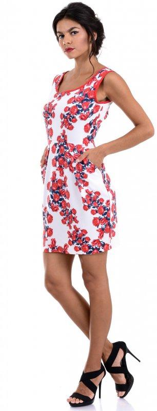 Купить Красивое коктейльное платье белого цвета с цветами