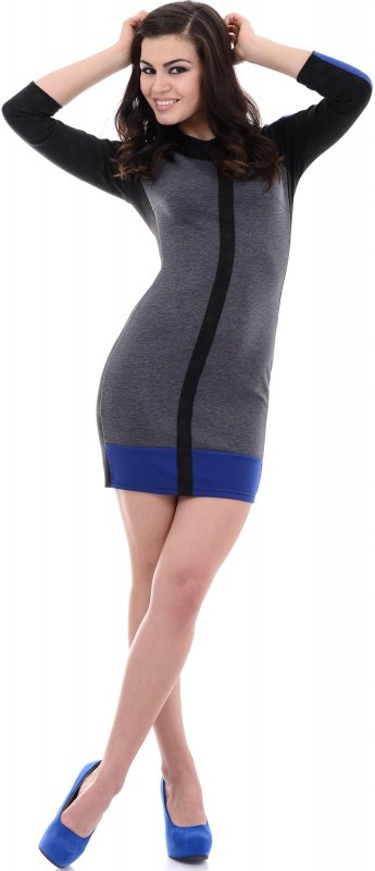 Купить Оригинальное коктейльное платье серого цвета с длинным рукавом