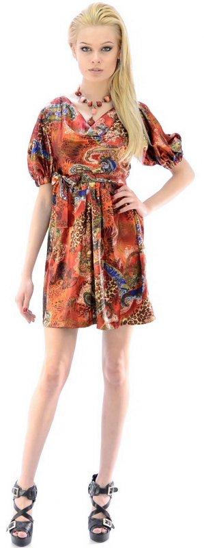 Купить Необычное атласное платье с узором