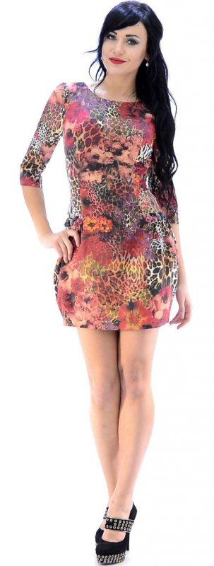 Купить Яркое коктейльное платье с принтом и длинным рукавом