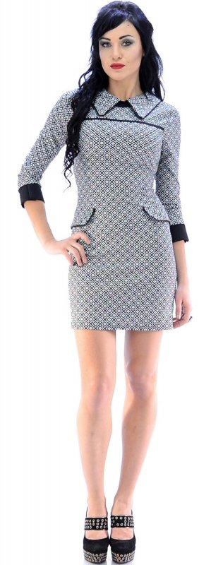 Купить Трендовое офисное платье серого цвета с узором