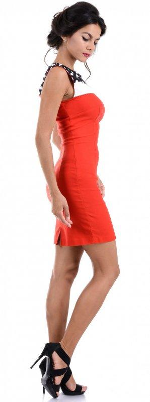 Купить Элегантное офисное платье красного цвета без рукавов