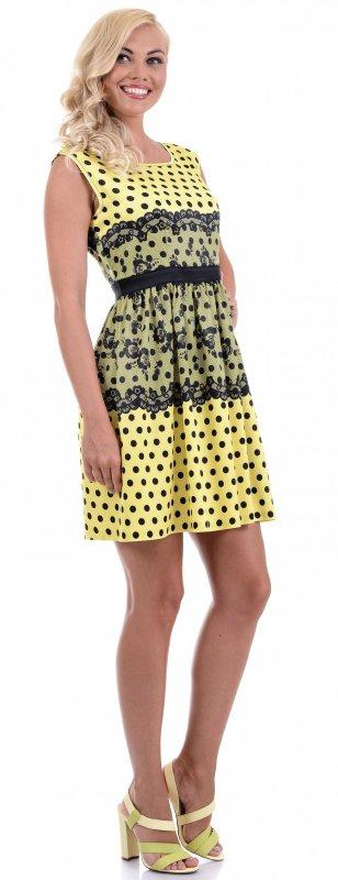 Купить Нежное коктейльное платье желтого цвета в горох
