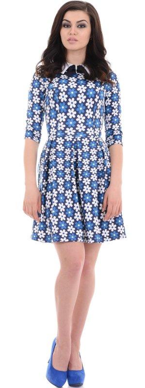 Купить Кокетливое повседневное платье с цветами и длинным рукавом