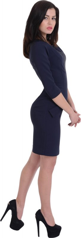 Купить Элегантное вечернее платье синего цвета с длинным рукавом