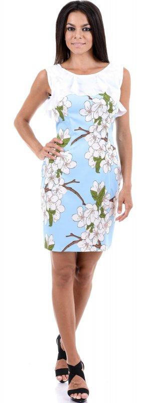 Купить Нежное легкое платье голубого цвета без рукавов с оборкой
