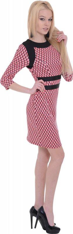 Купить Модное офисное платье кораллового цвета с длинным рукавом