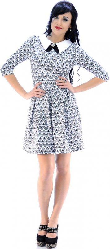 Купить Кокетливое повседневное платье серого цвета с узором
