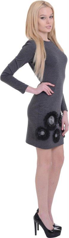 Купить Эффектное повседневное платье серого цвета с цветами